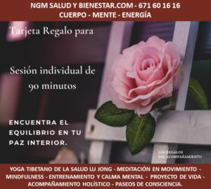 Tarjeta regalo sesion acompañamiento holistico. NGM Salud y Bienestar. Nuria Gomar Mirallave.